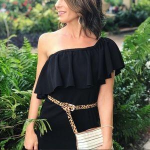 Lularoe | Cici Dress Black Ruffle medium new